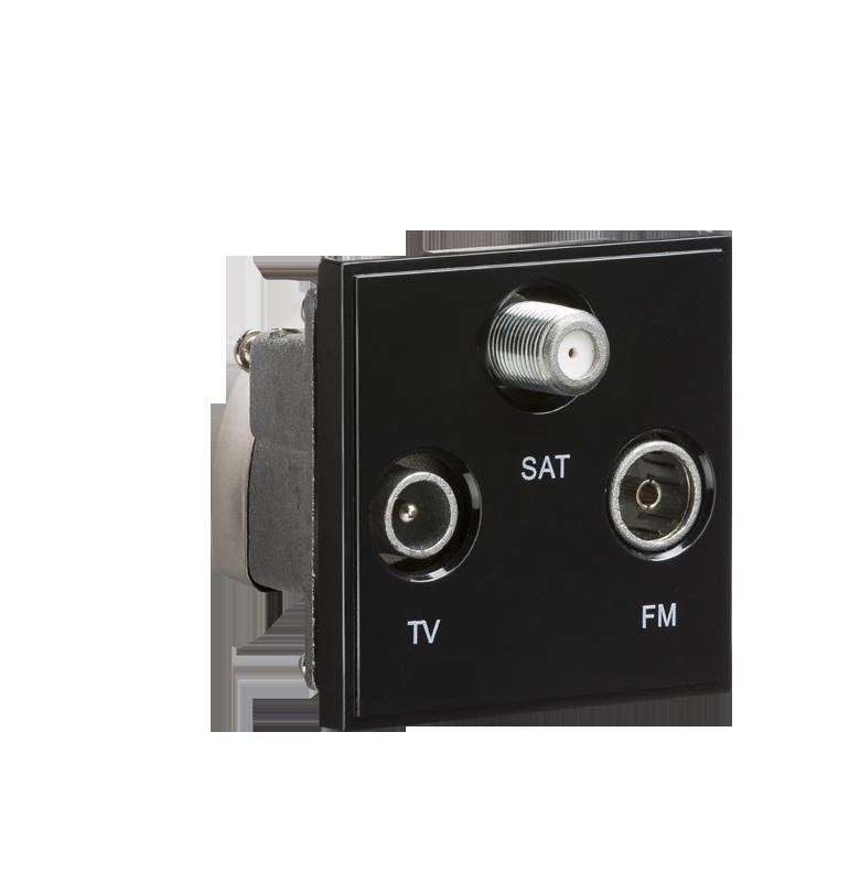 Black Modular Triplexed TV /FM DAB/ SAT TV Outlet