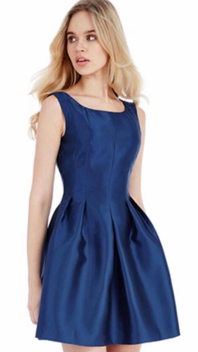 Navy sleeveless, skater short dress