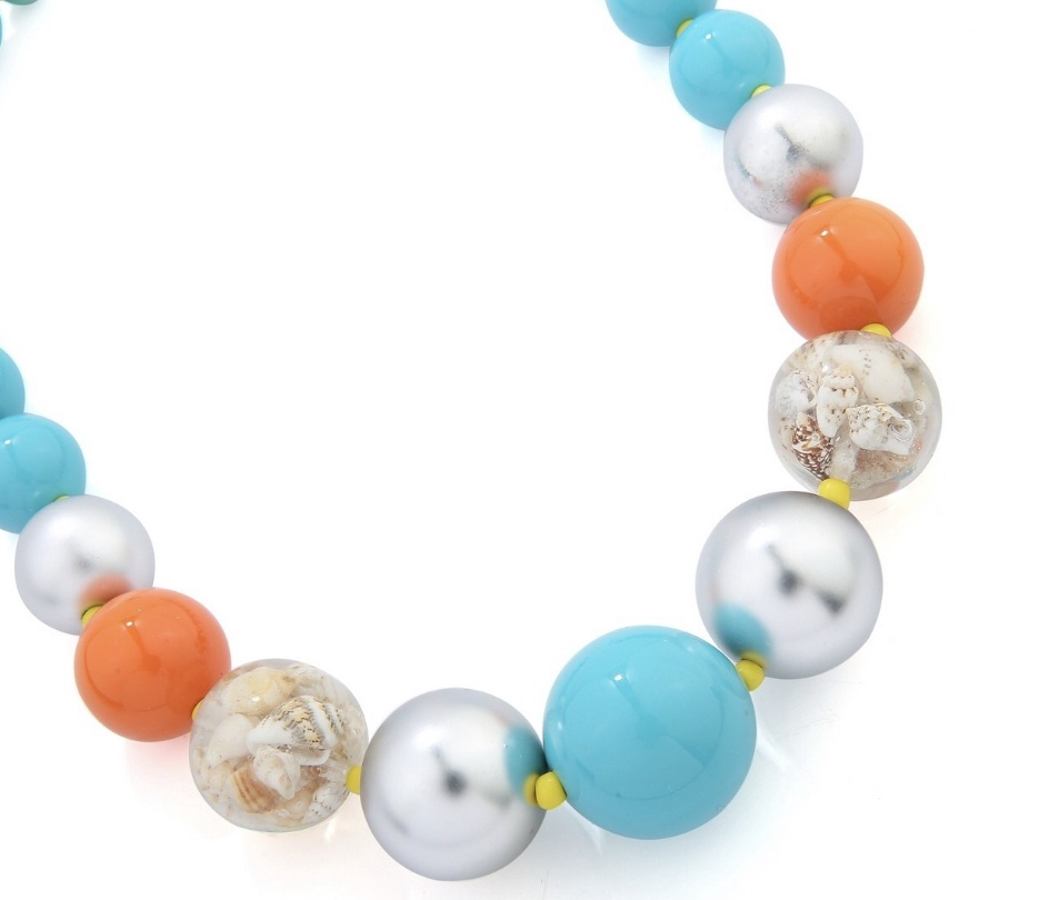 Large turquoise bead necklace with clear resin shell beads