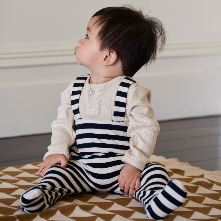 PIERRE FOOTED ROMPERS - NAVY STRIPE