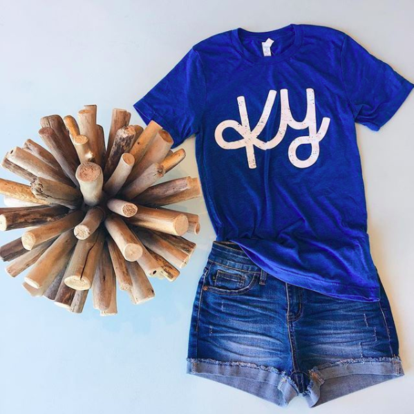 KY Blue/Wht Cursive KY T-Shirt