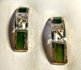 Greenstone & Silver Kowhaiwhai Stud Earrings
