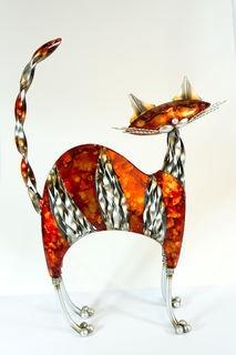 Bright orange metal cat