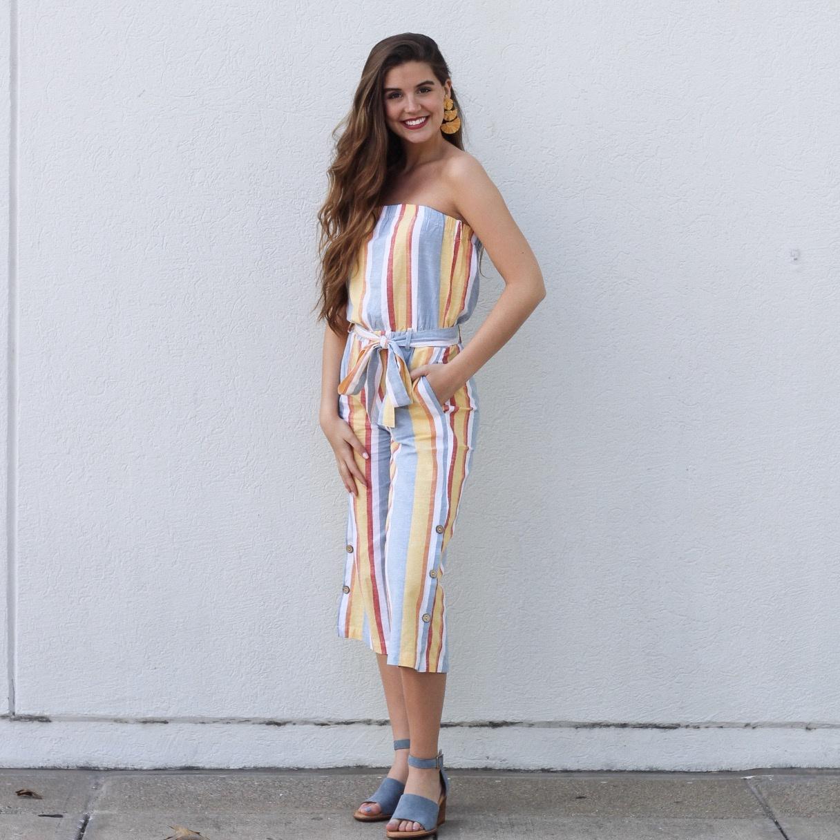 Multi Stripe Strapless Jumpsuit w Coco Buttons
