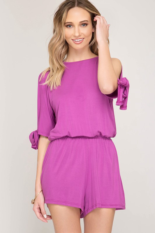 Magenta Knit Romper W/ Open Shoulder & Slv Tie