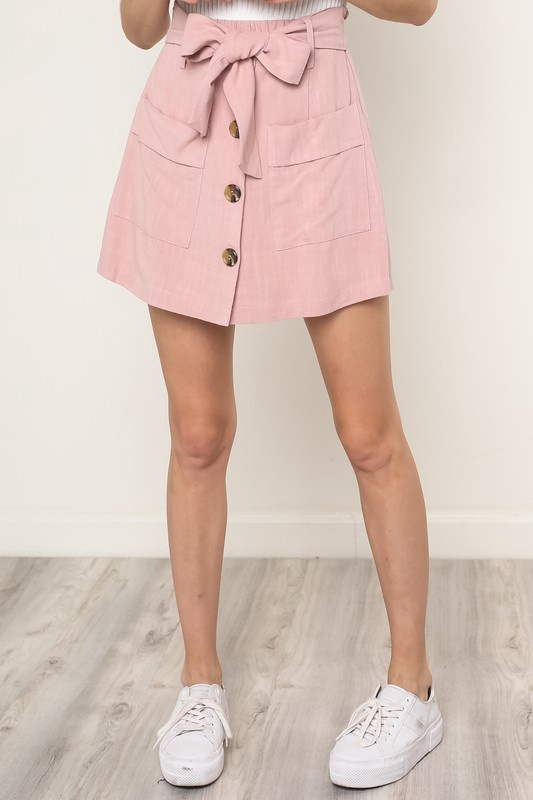 Mauve Button Up Skort w Tie Top