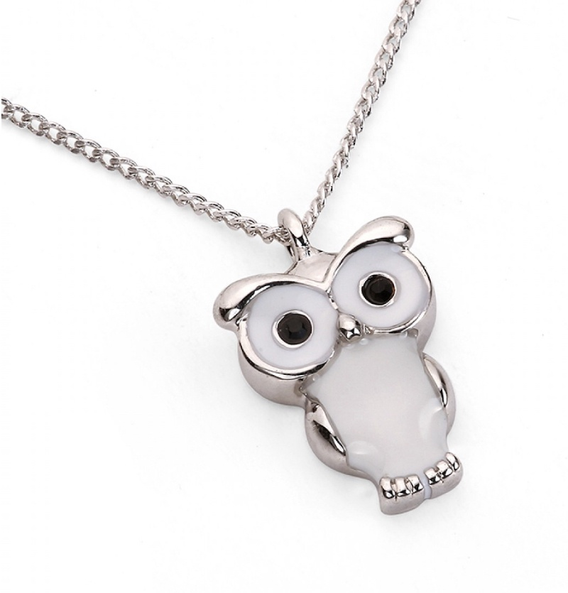 White Enamel & Silver Owl Necklace