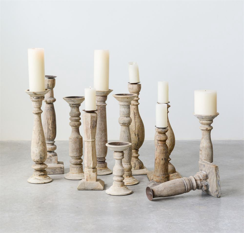 Found Wood Candle Stick