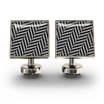 WURKIN STIFFS - SQUARE CUFFLINKS IN HERRINGBONE BLACK UNION