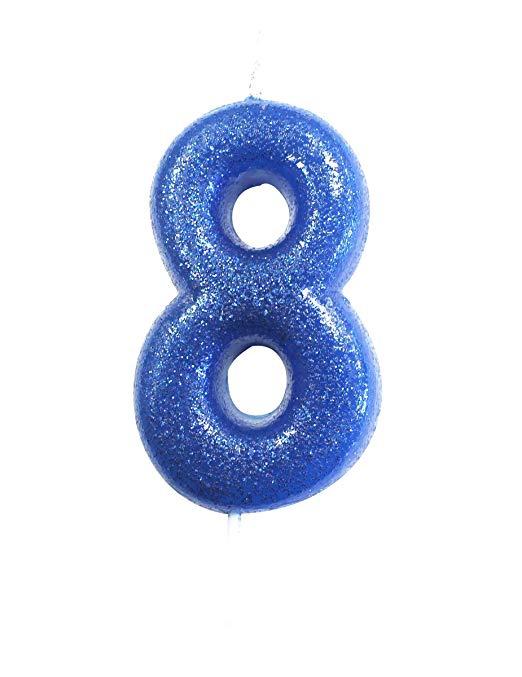CAKE CANDLE BLUE 8