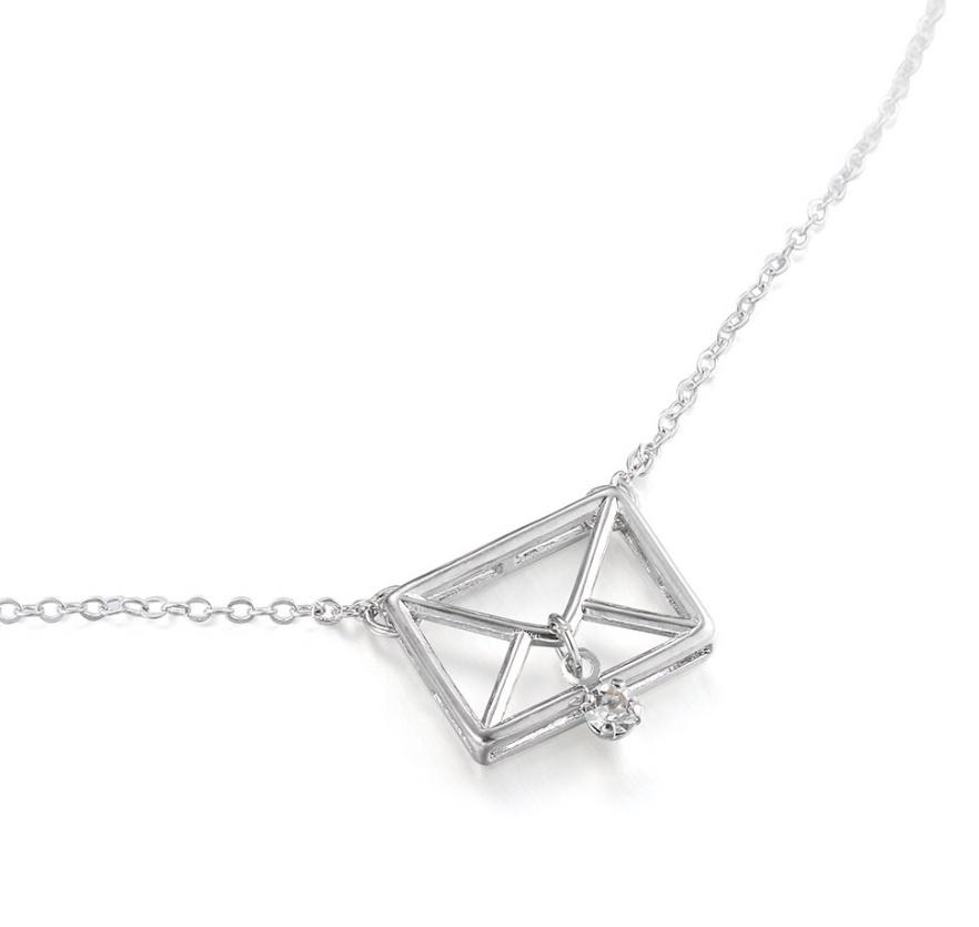 Silver Envelope Choker Necklace