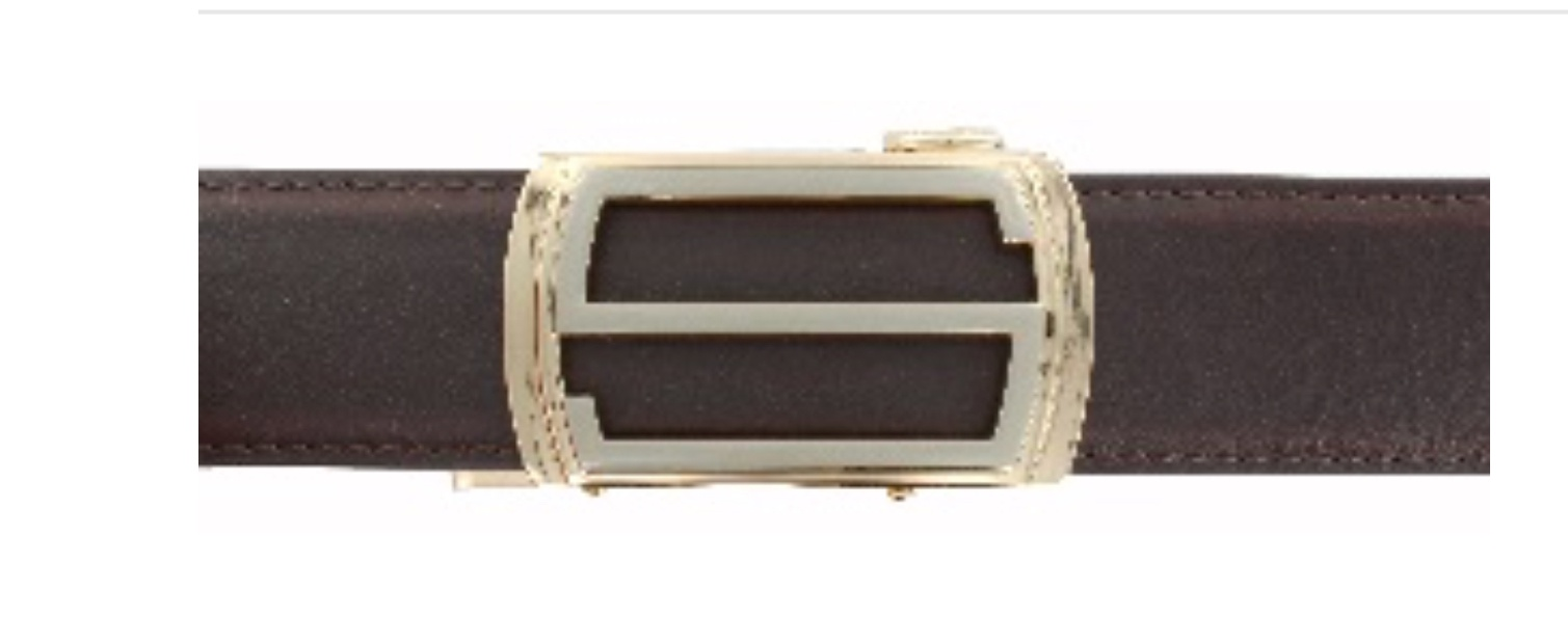 Brown Leather Belt with Rose Gold Buckle