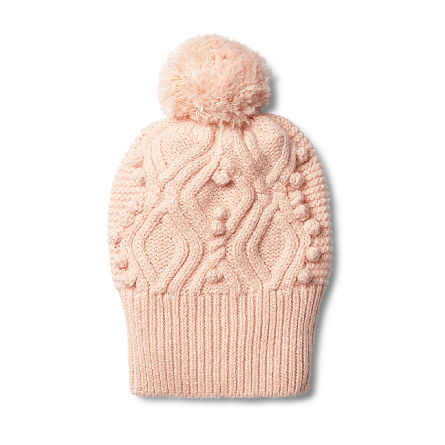 WF Peachy pink cable knitted pom pom hat