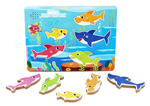 BABY SHARK WOOD TRAY PUZZLE W/SOUND