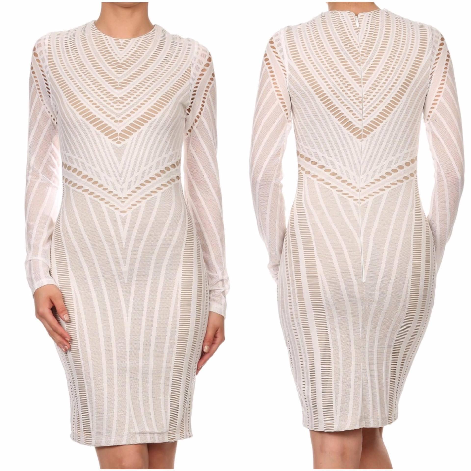 White/nude short dress
