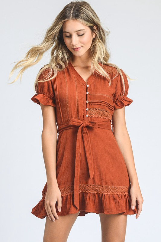 Rust S/S Fit Flare Dress w Button Down  Front n Crochet Detail