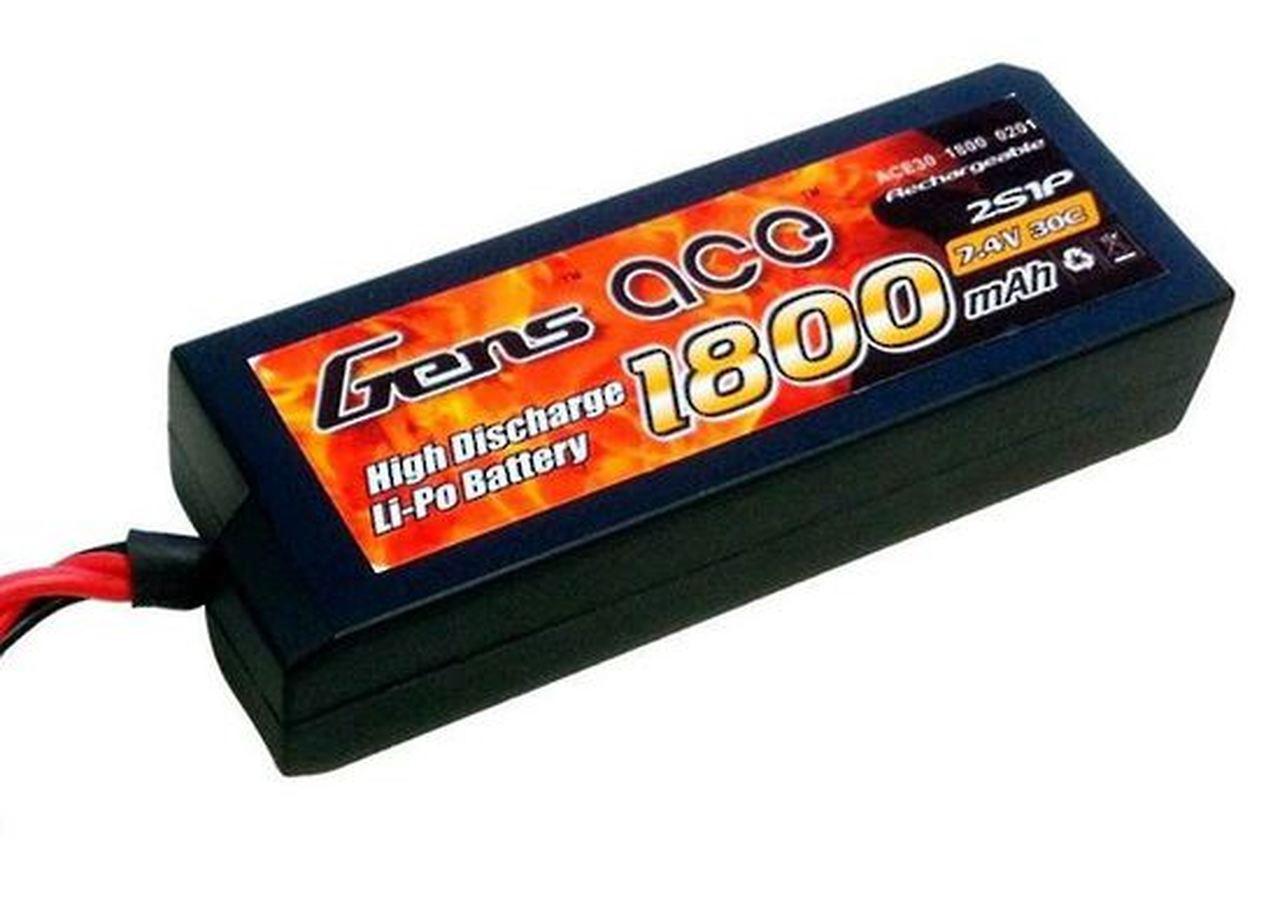 Gens-Ace #GA1800-2S-25C 7.4V Li-Po with EC3 Hardcase