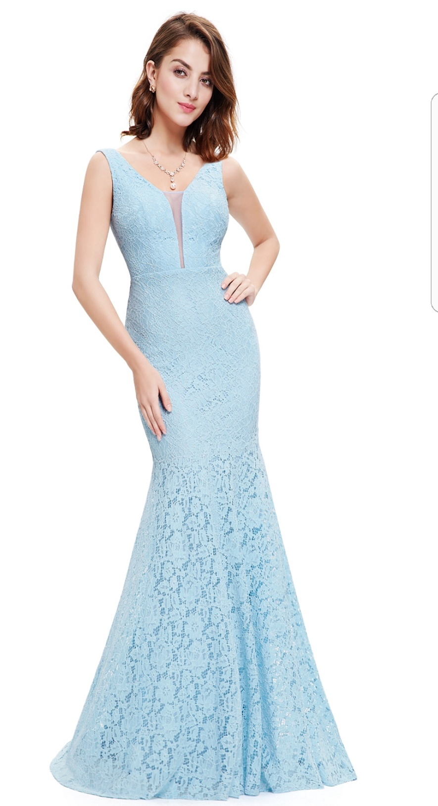 Floor Length Gown - Baby Blue Lace Mermaid Maxi Dress, NEW