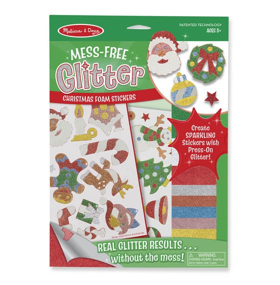 MD 30002 MESS FREE GLITTER CHRISTMAS FOAM STICKERS
