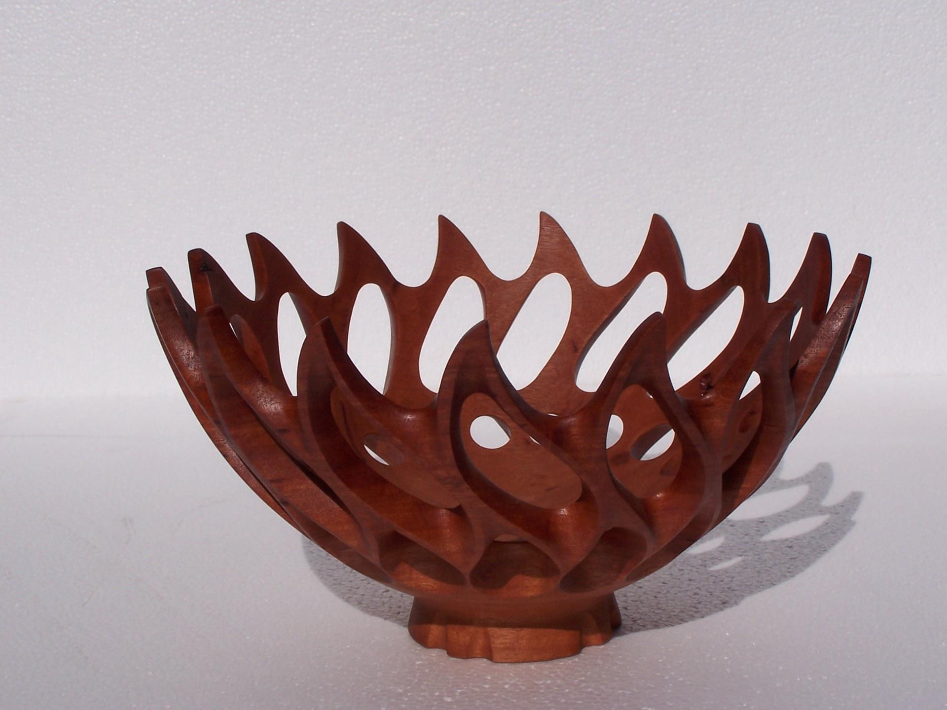 Carved Wooden Bowl - Spider's Nest
