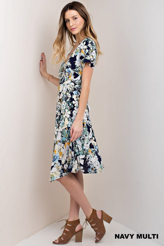 Ko - Navy Flower Printed Mid Length Dress