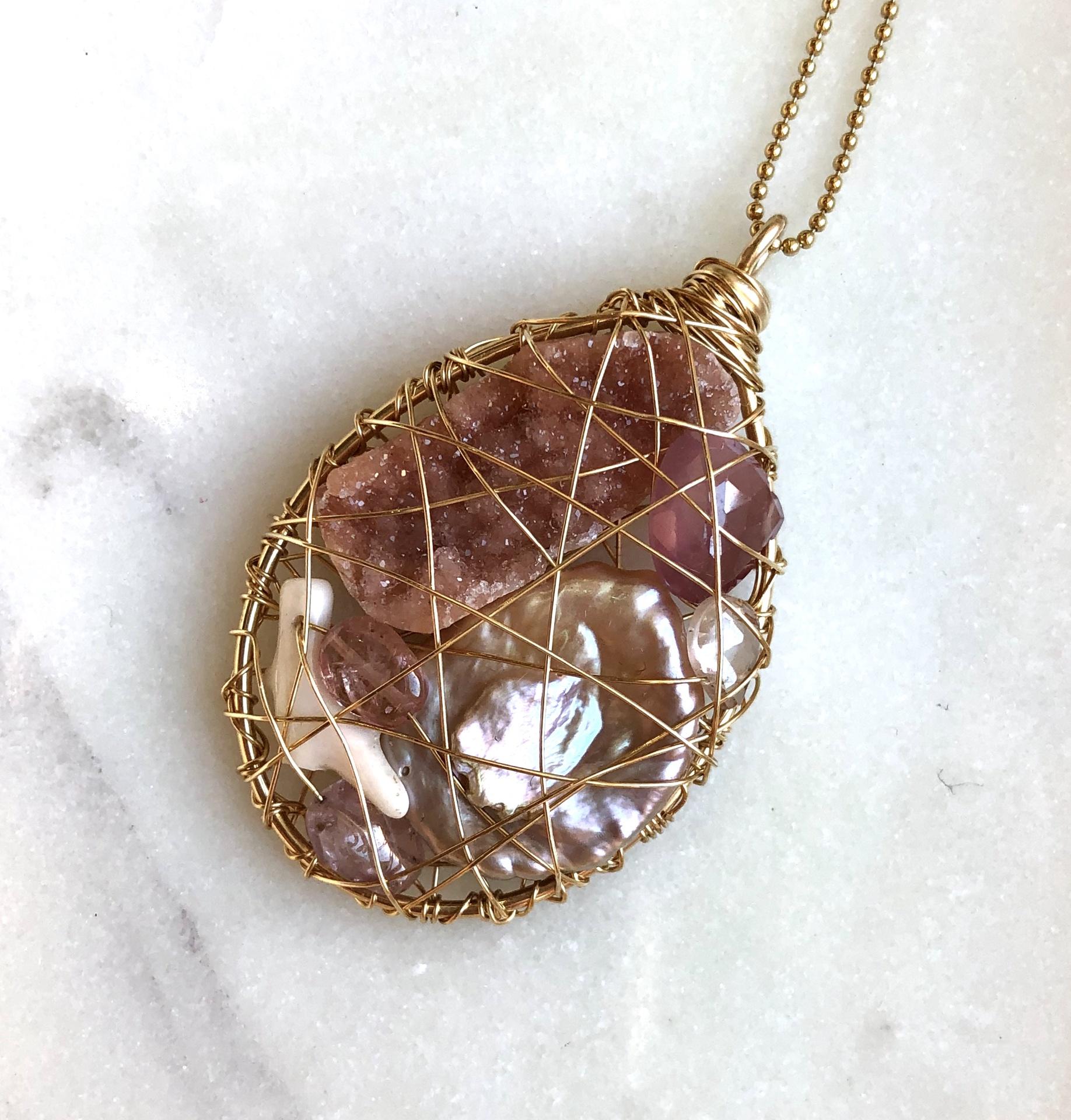 Treasure Necklace w/ Coral, Rose Quartz, Druzy Keshi