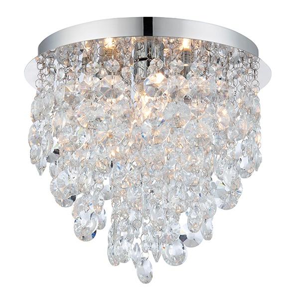 Kristen 3lt flush IP44 18W - clear crystal glass