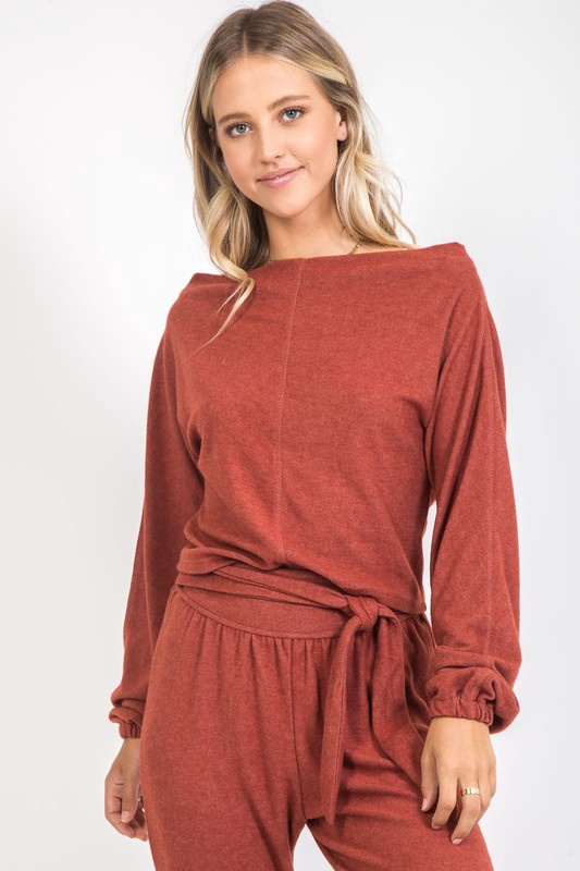 Brick Wide Neck Slouchy Soft Top