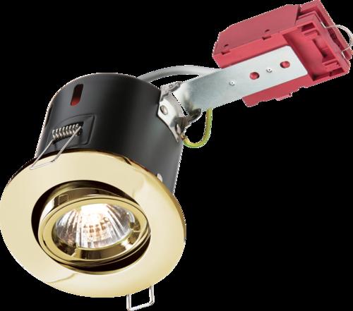 230V IP20 50W GU10 IC Fire-Rated Tilt Downlight Brass