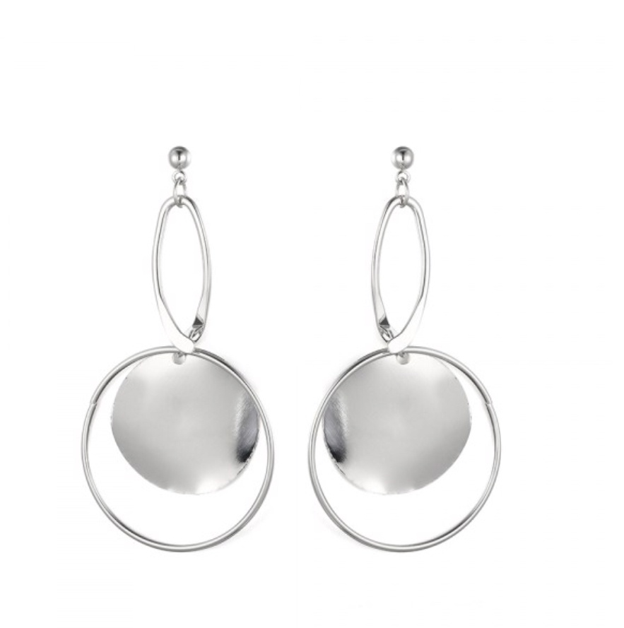 Silver hoop and square  earrings