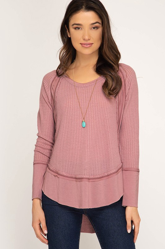 Mauve L/S Thermal w Contrast Fabric