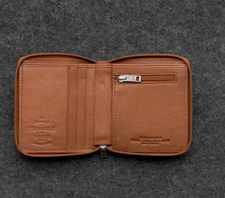 Newton Leather Zipper Wallet (available tan & black)