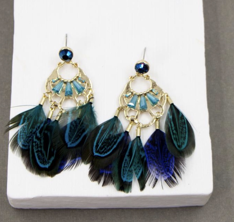 Crystal and feather chandelier drop boho style earrings