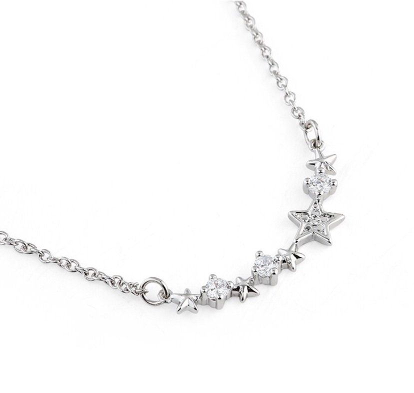 Silver shooting star necklace