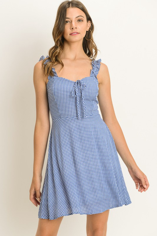 Gingham Fit Flare Dress w Ruffle on Straps