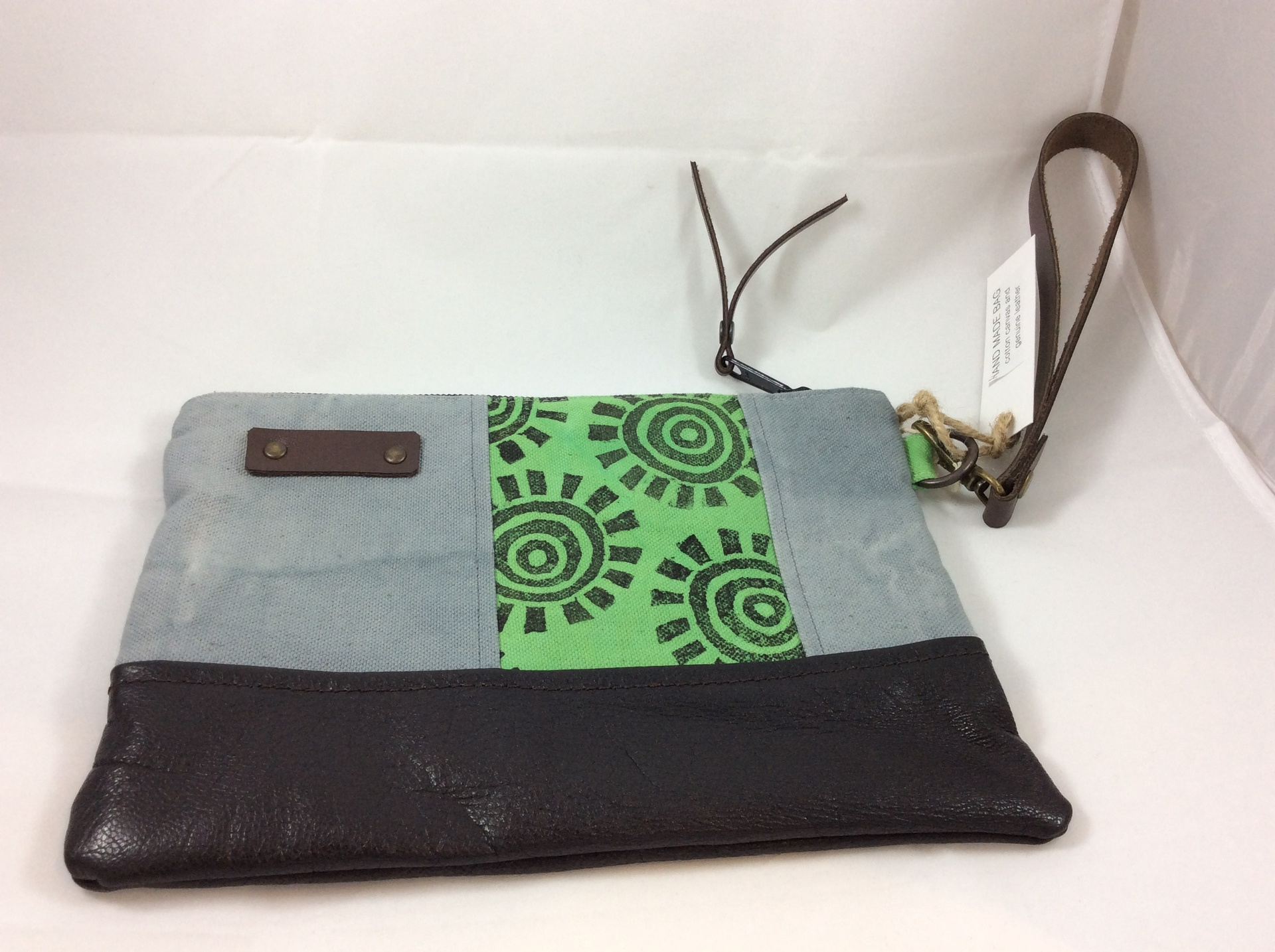 Grey, Green and Black Wrist Clutch- large