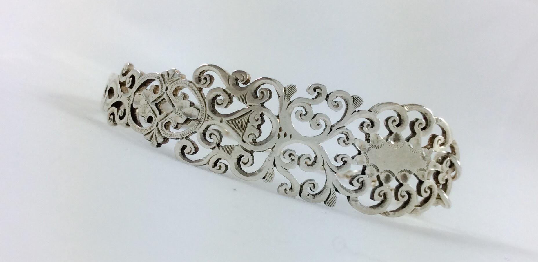 Ornate filigree sterling silver spoon bracelet