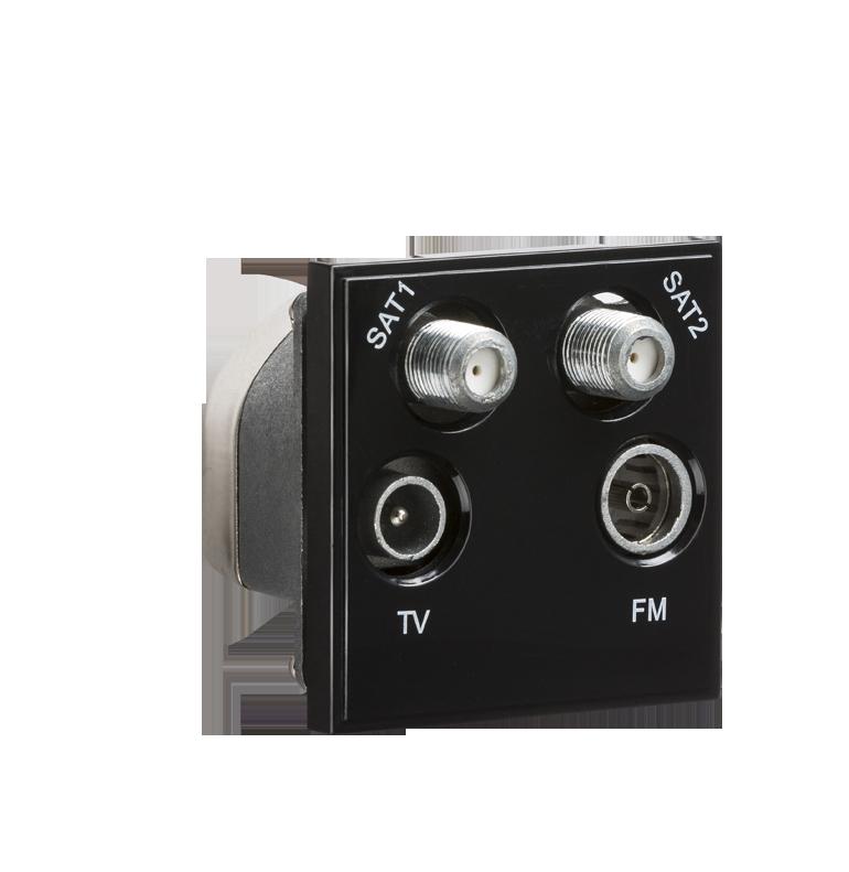 Black Modular Quadplexed SAT1/SAT2/TV/FM DAB Outlet