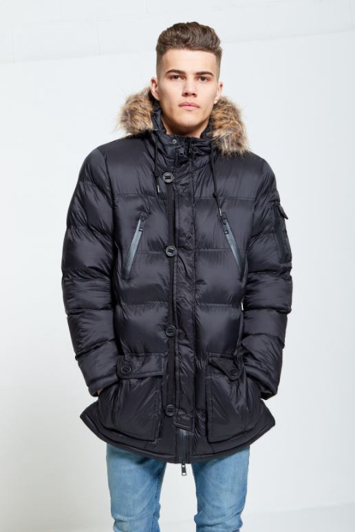 Menswear Black Runcorn Fur Hood Parka