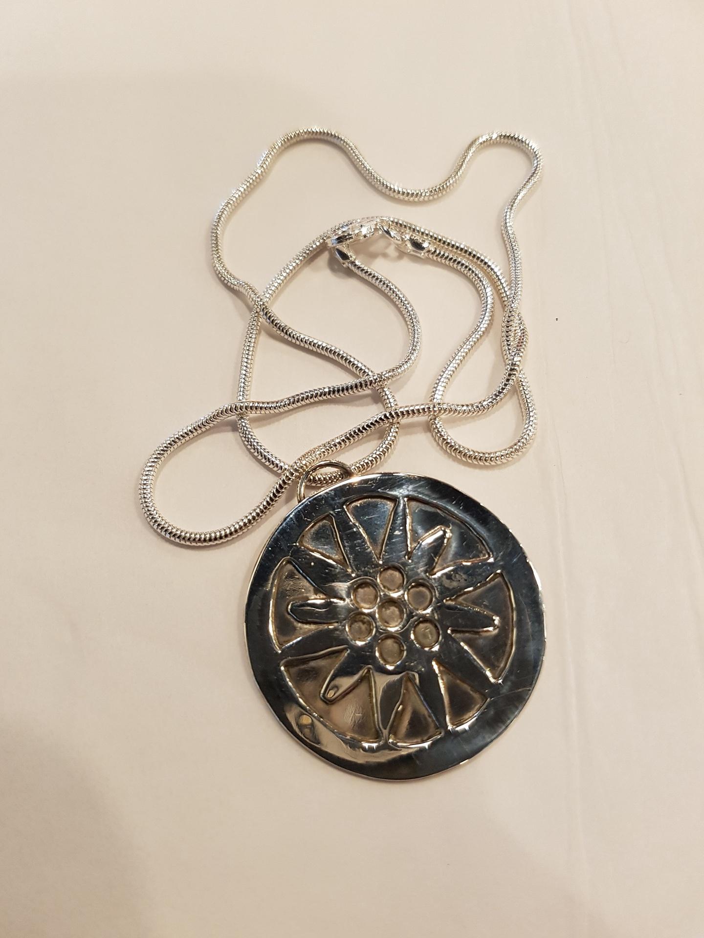 Sun Flower Sterling Silver Pendant