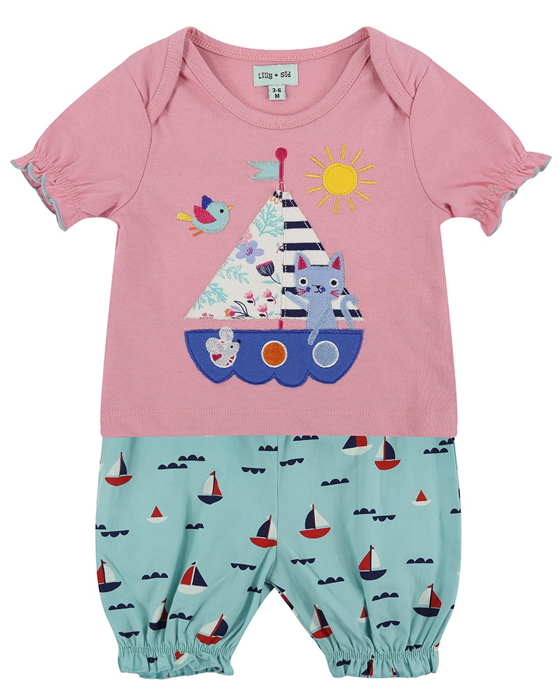 Lilly & Sid APPLIQUE SHORTS SET- BOATS