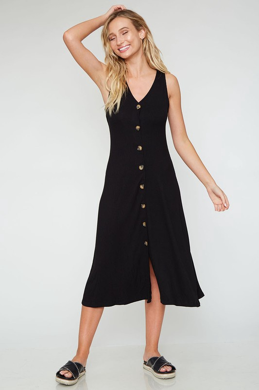 Blk Ribbed Midi Dress w Buttons Down Front