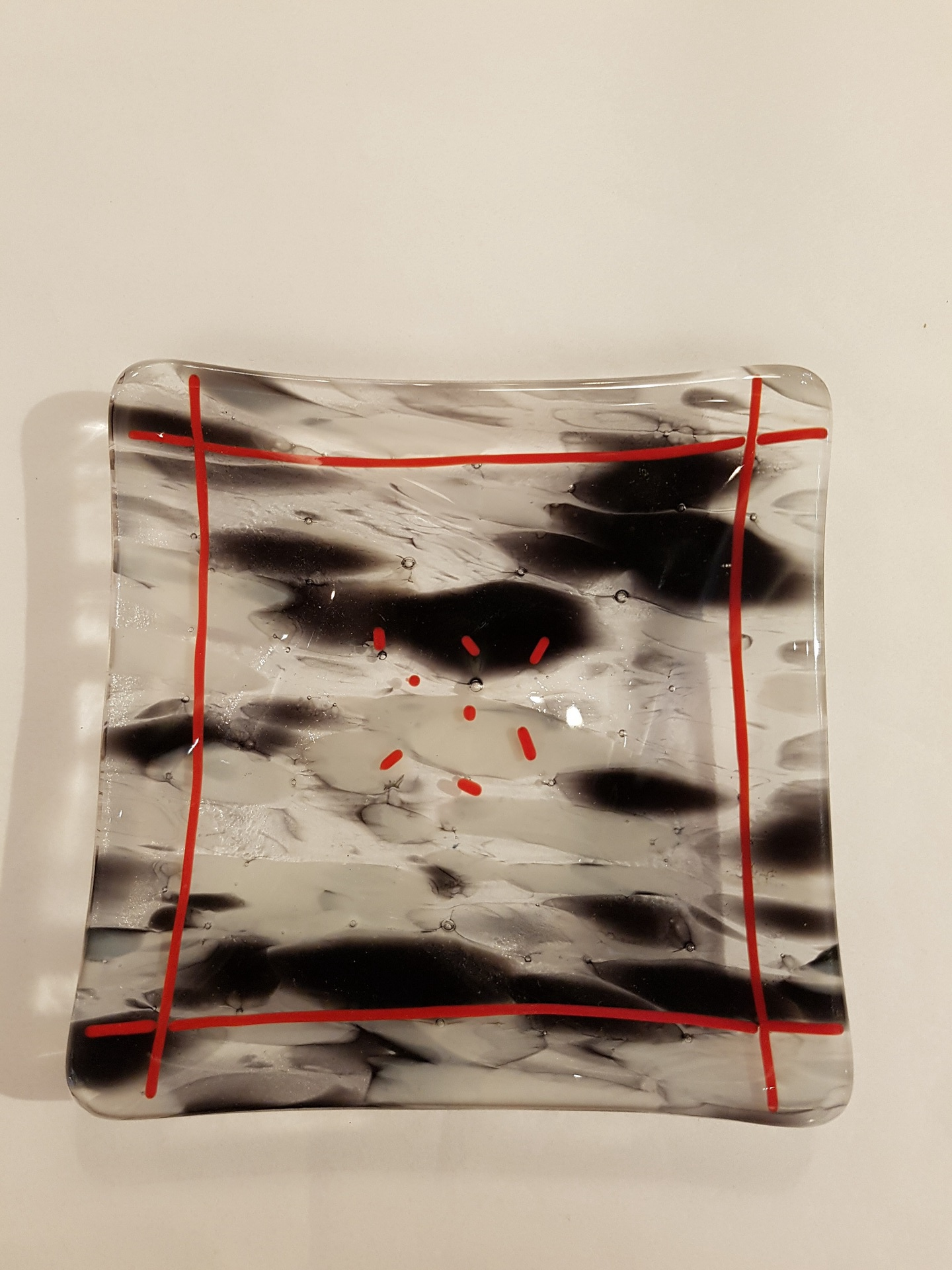 Black, Red and Clear Glass Square Dish