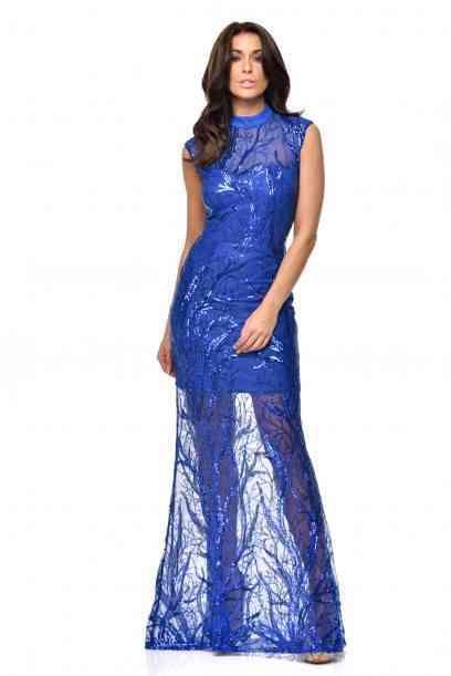 Blue tree sequinned floor lenth gown