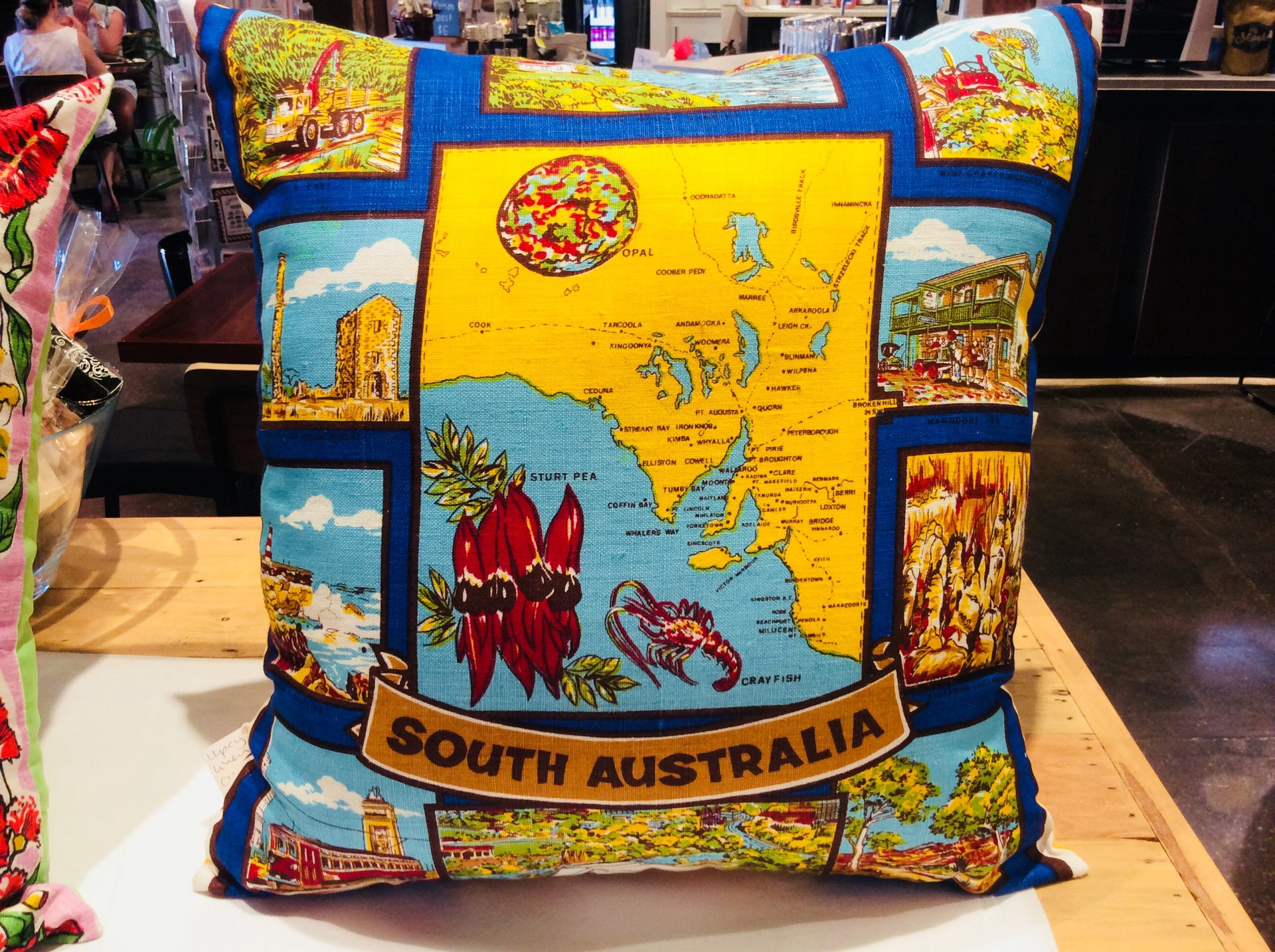 Upcycled Retro Tea Towel Cushion - South Australia