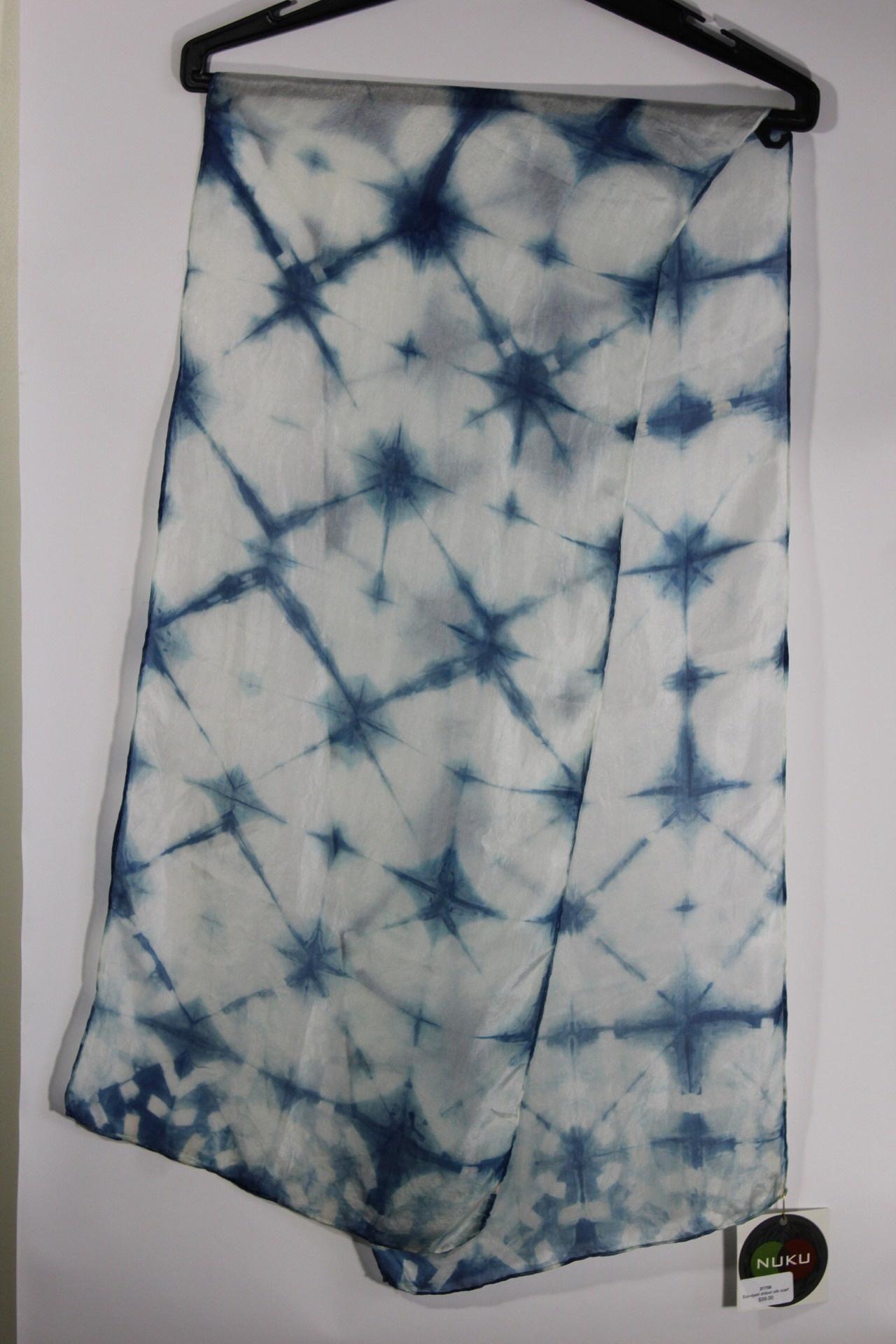 Eco-dyed shibori silk scarf