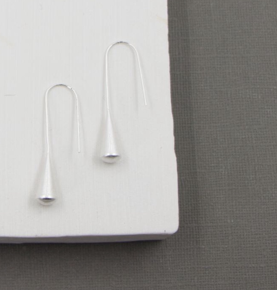 Contemporary silver drop earrings