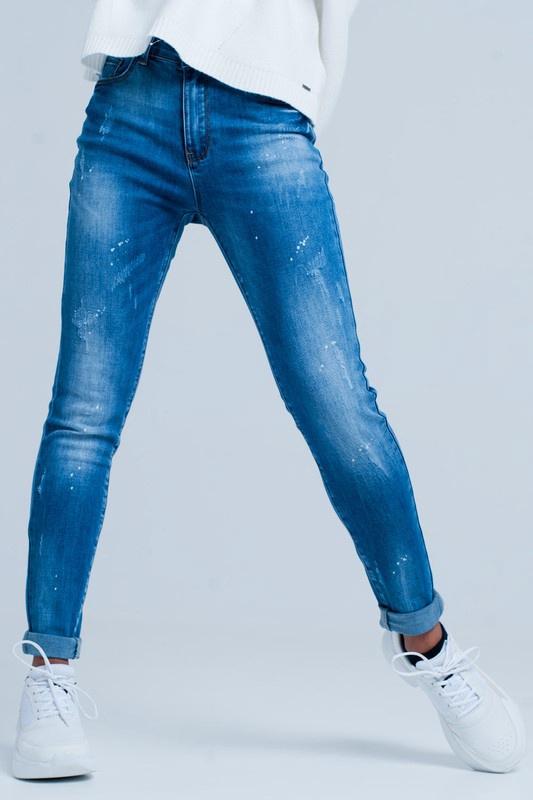 Med Wash Skinny Jean w Bleach Dot Effect