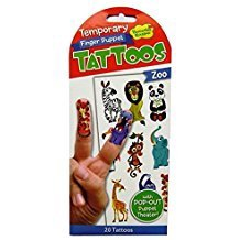 ZOO FINGER PUPPET TEMPORARY TATTOOS