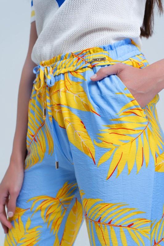 Yellow/Blue Leaf Print Pants